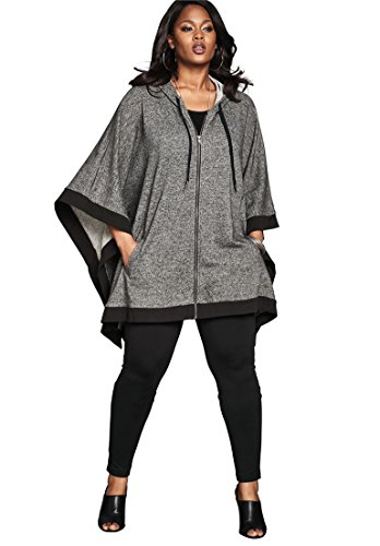 Sleeve Hooded Poncho - Roamans Women's Plus Size Hooded Zip Poncho