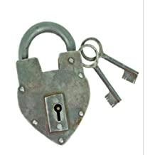 Antique Reproduction Heart Padlock with 2 Skeleton Keys