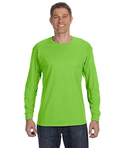 Long Sleeve T-shirt Overalls - Hanes TAGLESS  Long-Sleeve T-Shirt,Lime,Small
