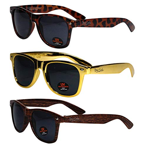 Sunglasses for Men, Women & Kids by Ray Solée- 3 Pack Tortoise Gold - Hard Wood And Wayfarer Sunglasses