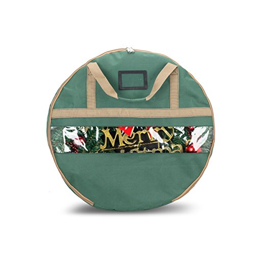 ONWAY Christmas Wreath Storage Bag With Clean Window And Transparent Card Slot for Labeling,30'' X 7'',Green by ONWAY