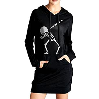 Dabbing Skeleton DAB Womens Long Sleeve Hoodie Sweatshirt Pullover | Tunic Slim Pockets Dress