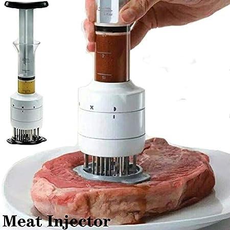 Lgraka Inyector de Salsas y ablandador de Carne 2 en 1, jeringa de Adobo sazonador de sabores multifunción con Aguja de Acero Inoxidable Ultra Afilada