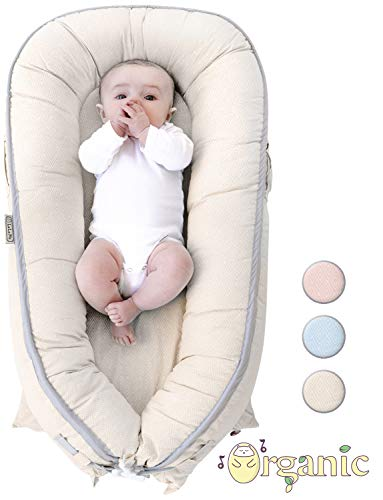 Organic Newborn Lounger | Baby Nest | Portable Snuggle Bed for Infants & Toddlers 0-12 Month | Blue, Pink, Beige Colors for Girls and Boys | Use as Bassinet, Play - Babies Bed Of