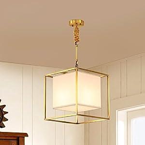HQLCX Chandelier All Copper Living Room Chandelier Modern Minimalist Fabric Chandelier,30Cm