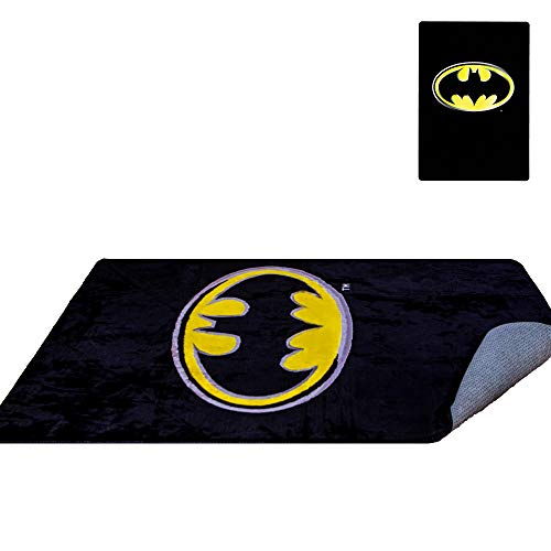 (DC Comics Batman Emblem Rug 48'' x 72'' - Officially Licensed - Super Soft & Thick Surface - Anti-Slip for Hard Surface Floor - 100%)