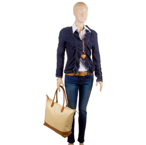 "Damenhandtasche Shopper gross ""Paulina"" aus Leder von diboni ® - crema/beige – braun/moccassinbraun"