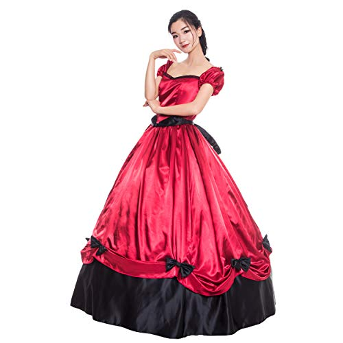 Gothic Red Civil War Southern Belle Ball Gown Historical Halloween Costume