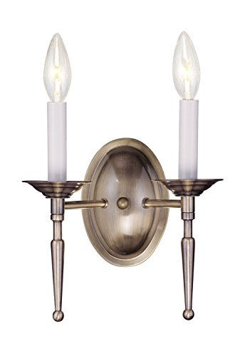 Livex Lighting 5122-01 Williamsburg 2-Light Wall Sconce, Antique Brass Antique Brass Williamsburg 1 Light