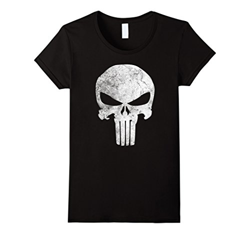 Womens Marvel Punisher Skull Symbol Distressed Graphic T-Shirt Medium Black