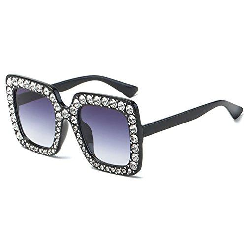 Rhinestone Fashion Sunglasses Party Decorative Gem Trim Square Thick (BlackClear) art birthday colorful cute disco drive festival girl Gorgeous hipstar night perfect star sun-glass Sunglasses]()