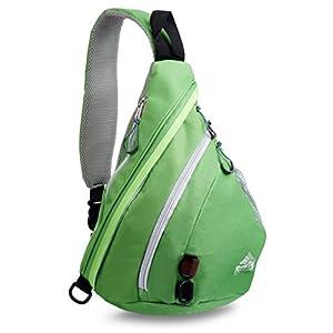 Sling Backpack by RiteTrak Sports - Best Lightweight Multi-Use Pack for Travel Hiking Biking or Fitness, One Strap Shoulder or Crossbody Bag (Iguana Green)