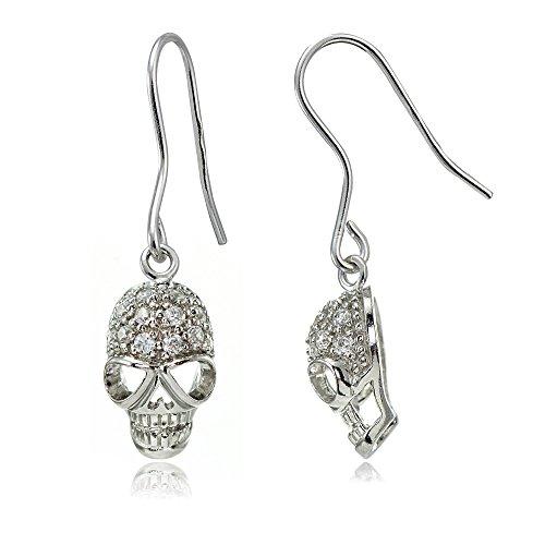 Sterling Silver Cubic Zirconia Skull Head Dangle ()