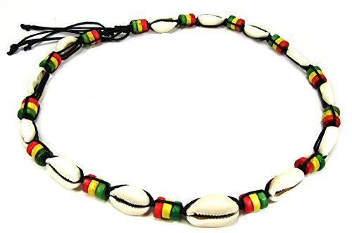 Hippie Shell Necklace (Exotic & Trendy Rasta Beaded Necklace-Handmade Rasta Necklace-Rasta Jewelry for Men Women-Reggae Necklace-Jamaican Necklace)