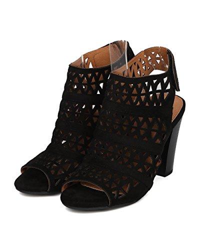Gg77 Block Perforated Night Heel Peep Date Nature Toe Black Trendy Dressy Breeze By Women Mule q7Ffwtg