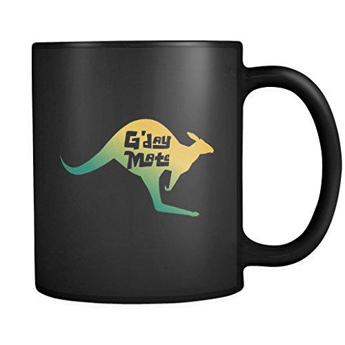 G'day Mate Australian Kangaroo Souvenir Black Mug 11oz (Best Australian Souvenir Ideas)