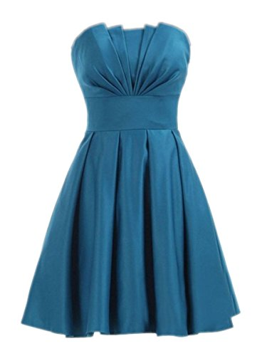 Kleider Kurz Satin 2016 Damen Teal Brautjungferkleider Teal Strapless Fanciest Homecoming aqnpgAwx