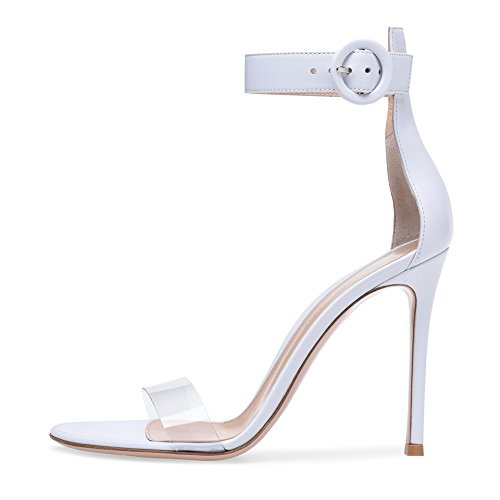 B Shoes Strap Shoes Casual amp; PVC High Party Buckle Stiletto Dress Ladies Club for Womens Evening Party Heel Sandals Stilettos Heel AqROgxz