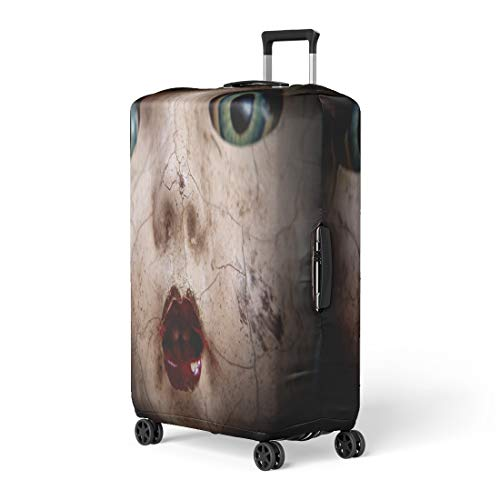 Pinbeam Luggage Cover Horror Scary Cracked Old Doll Face Shallow Focus Travel Suitcase Cover Protector Baggage Case Fits 26-28 inches ()