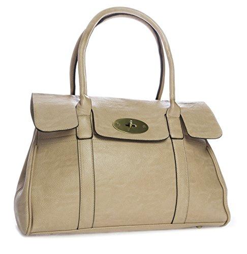 Big Handbag Shop Womens Vegan Leather Designer Boutique Turnlock Top Handle Shoulder Bag Beige