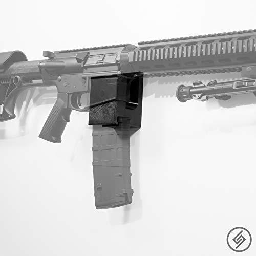 AR-10 + PMAG Wall Mount | Rifle Display | Wall Storage Organization System | Unique Low Profile Design | Gun Safe Wall Garage | Gun Room Mounting Solution | Spartan Mounts