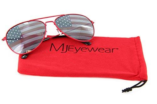 MJ Eyewear Patriotic Aviator Sunglasses American Flag Lens (Red, - Sunglasses Aviator Usa