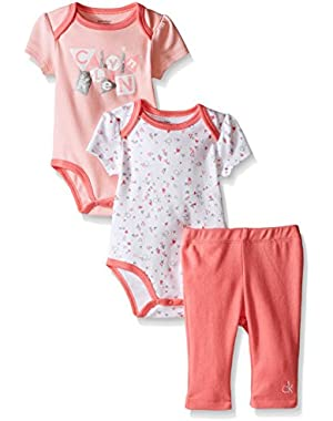 Baby Girls' 2 Printed Bodysuits and Combed Interlock Pants, Pink, 3-6 Months