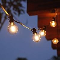 BRIMAX G40 Luces de Cadena, Impermeable IP45, 25ftFt/50ft, Guirnalda Luces Exterior Luminosas para Jardín Patio Fiesta…