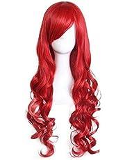 PetHot Pelucas Disfraces Sirena Ariel Rojo Peluca Larga 80cm Estilo Ondulado Halloween Fiesta Ropa Princesa Cosplay Pelo para Niños Mujeres