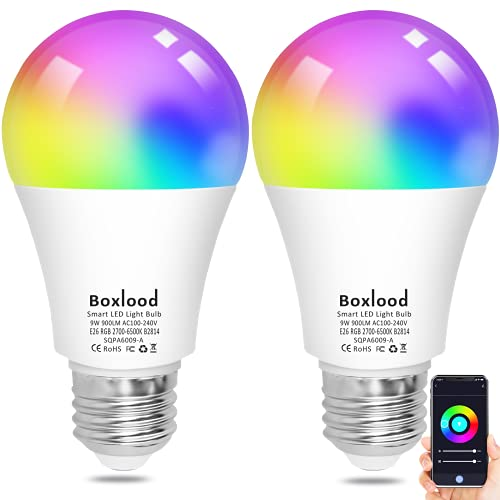 Smart Light Bulbs, Boxlood WiFi Smart Bulbs That Work with Alexa Echo Google Home Siri, No Hub Required, RGB Color Changing, Warm White to Cool White Tunable, Dimmable 9W=80W Equivalent A19 E26 2Pack