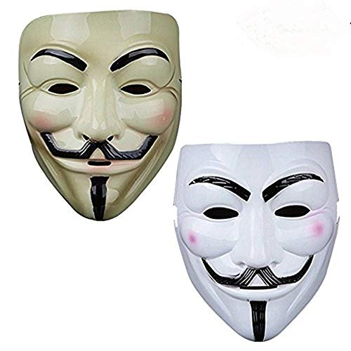 Vendetta Mask Guy V Like Hacker Mask Bundled Sticker Fancy Cosplay Costume Set of 2 (Styel A) for $<!--$6.99-->