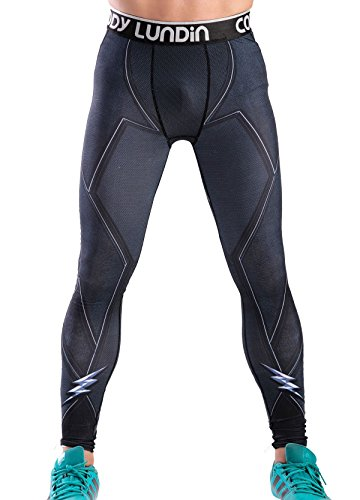 Red Plume Men's Compression Elastic Tight Leggings Sport Lightning Printing Pants (M, Flash)]()