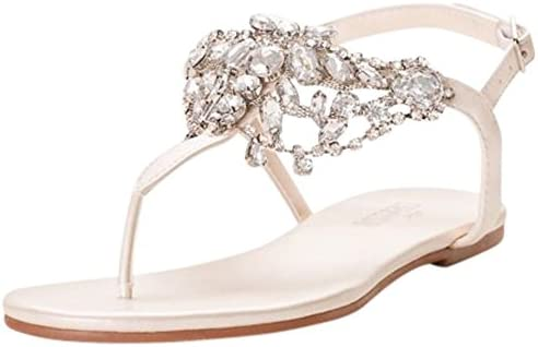 Crystal Embellished T Strap Thong Sandals Waverly