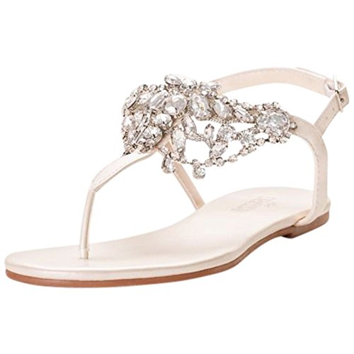 Crystal-Embellished T-Strap Thong Sandals Style Waverly, Ivory, 7