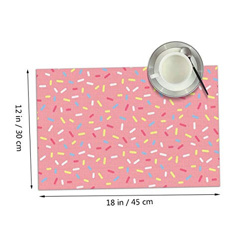 Carmen Belinda Pink Sweet Donut Doughnut Placemats Set of 4 for Dining Table Washable Place Mats for Kitchen/Dinning Table, Home Table Decor Non-Slip Heat Resistant, 12x18 Inches ()