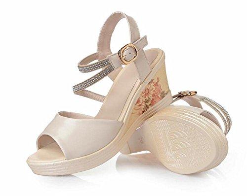 Plate Talons Cuir et Sandales étanche à avec Des De une YC Chaussures Des Femmes avec épaisse Hauts Forme étanche avec Bouche Des FL Poisson 37 Pente white wnR6x0qv