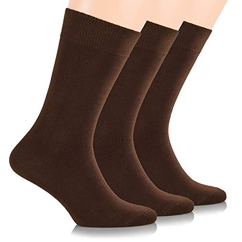 Ruby Slippers Women's 3 Pack Business Casual Crew Length Bamboo Dress Socks (9-12, Brown)