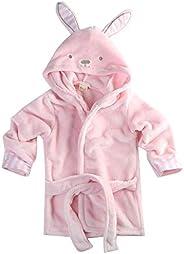 Infant Baby Boys Girls Cartoon Animal Bathrobe Coral Velvet Hooded Towel Bath Robe Long Sleeve Pajamas Clothes