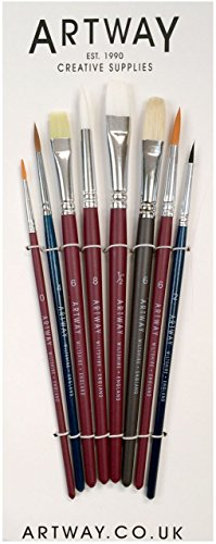 - Artway - Paint Brush Set - Nylon Hog Sable Natural - Pack of 8 Including Round Flat and Filbert