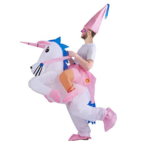 Funny Halloween Costumes For Big Guys (ATDAWN Inflatable Unicorn Rider Costume, Inflatable Costumes, Halloween Costume, Blow Up Costume, Adult)