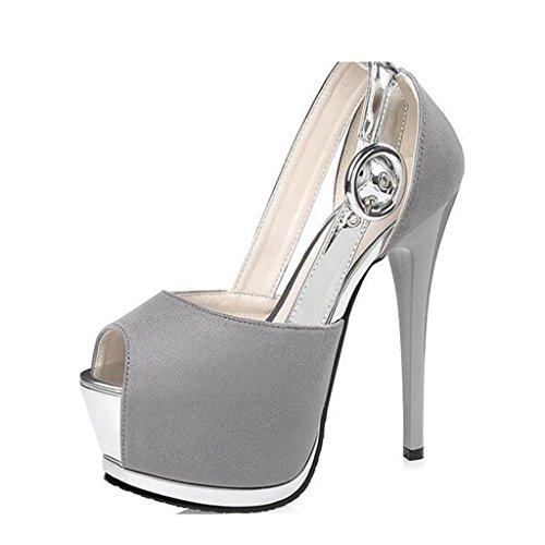 W&LM Mme Talons hauts Plateforme étanche D'accord Bouche de poisson Jouer de la couleur Des sandales Bouche superficielle Chaussures individuelles Gray