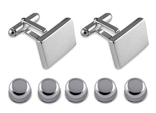 Sterling silver heavyweight plain rectangular Cufflinks Shirt Dress Studs Gift Set by Select Gifts