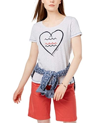 Tommy Hilfiger Womens Heathered Heart Graphic T-Shirt Gray XL