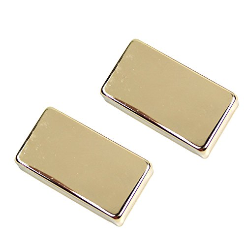Timiy Pack of 2 Universal Electric Guitar Pickup Covers No Holes Made of Copper (Gold) ()
