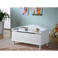 Kings Brand R1018 Wood Storage Bench Toy Chest, White Finish
