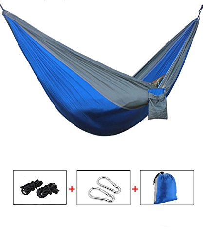Yingee Camping Hammock, Light Nylon Cloth Parachute Multifunctional Light Double Outdoor Camping Hammock, Sleeping Bag, Camping Camping, Beach, Pier, Garden 2 x Hanger (Blue) by Yingee