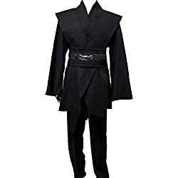 Men TUNIC Hooded Robe Cloak Knight Fancy Cool Cosplay Costume Black XL