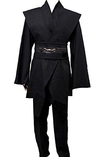 Magic Staff - Men TUNIC Hooded Robe Cloak Knight Fancy Cool Cosplay Costume Black XL