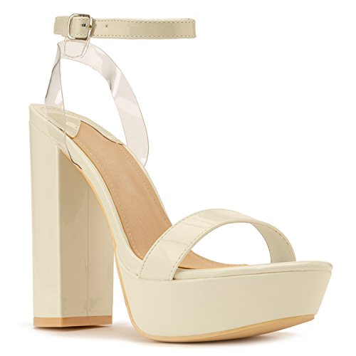 - RF ROOM OF FASHION Women's Chunky Dressy Heel Sandal | Open Toe Platform Pumps with Buckle Lucite Ankle Strap | Party Evening Shoes High Heel Pump Sandals Beige (9)