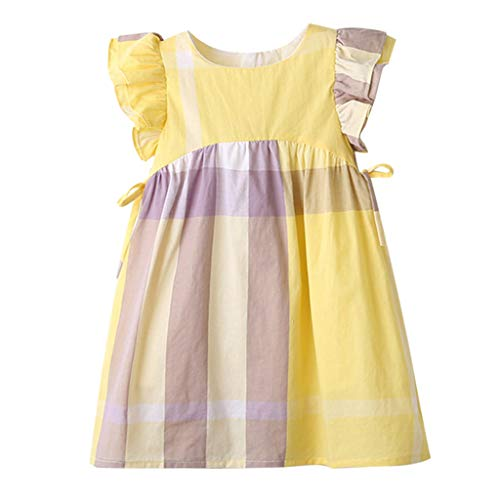 MOGOV Toddler Kids Baby Girls Summer Dress Plaid Print Bowknot Party Princess Dresses 2 Colors for Options Yellow ()